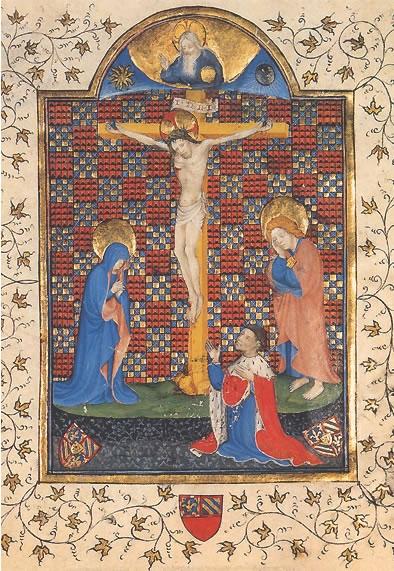 Guy poissonnier, dijon ms 740 folio 1v, 1415