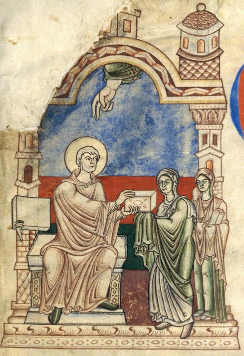 Écriture st jérome remettant son ouvrage à mercelle accompagnée de principia dijon ms 132 f 1  1er tiers du 12e citeaux, abbaye notre dame