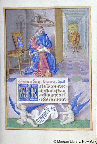 St luc pierpont morgan library 834 f15r Bourges 1470 heures de jean Robertet