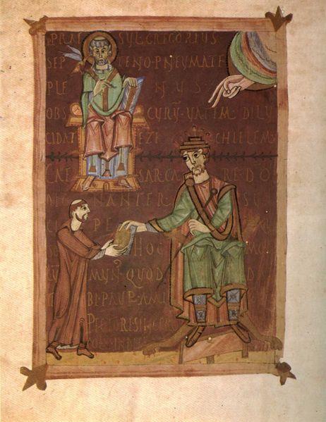 Empereur germanique henri II le saint, saint grégooire bamberg, bibliothèque d'Etat 84 11e s