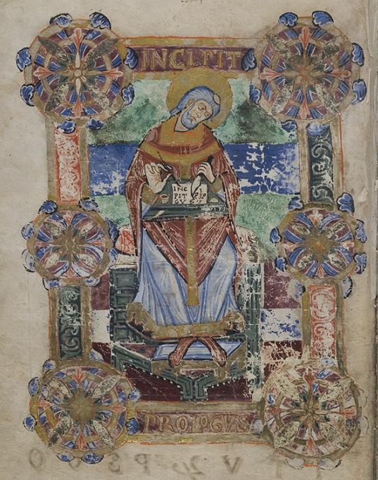 Portrait de Venance fortunat, vie de sainte radegonde bm poitiers 250 f21v vers 1100 à Tours ? (gahom 5779)