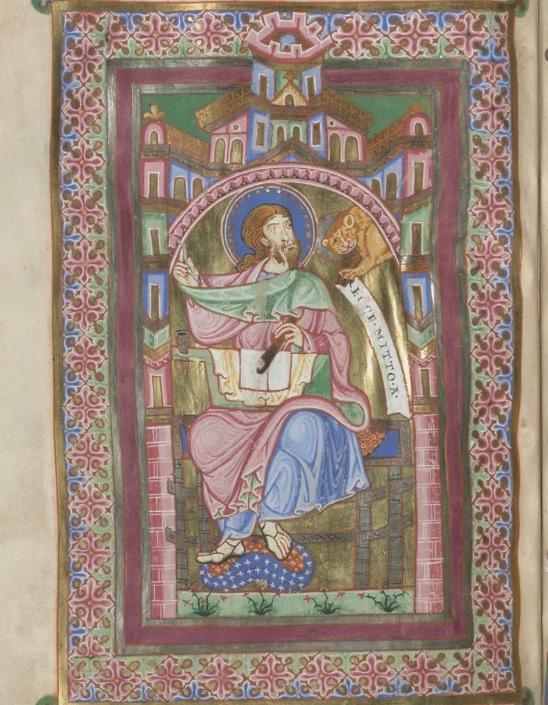 Munich bayerische staatsbibliothek Clm 21580 f130 st marc Bistum Freising (Tegernsee ?) 1170-1180