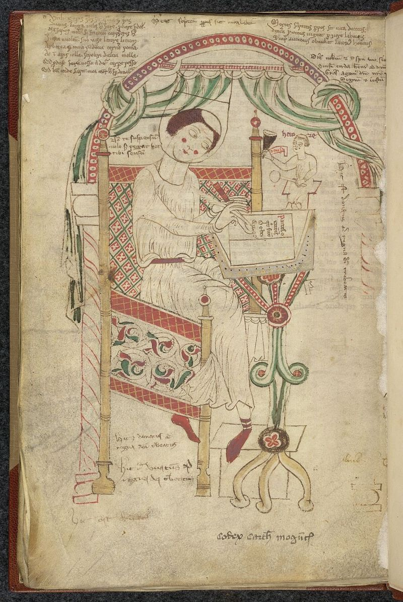 BL Arundel 43 f80v Donatus writing his grammar