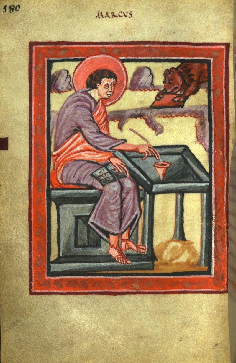 Walters Ms. W.4, Freising Gospels f90v st marc