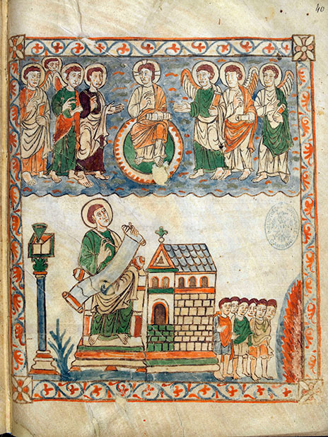 Encrier conique, saint, rotulus, église cambrai 386 folio 40