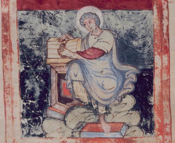 St Jean BL ADD 11848 fol 166v second groupe de Köhler ms assigné à l'abbatiat de Fridugisus à Tours (807-8034)