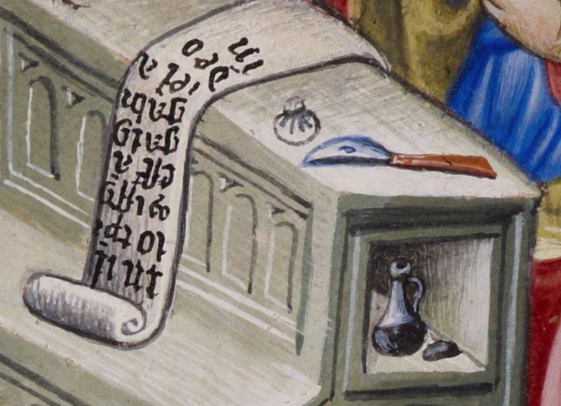 0st Luc4 BL Add 28962 fol 34v 1436-1443 Psautier et heures à l'usage des dominicain, Livre de prière d'Alphonse V d'Aragon
