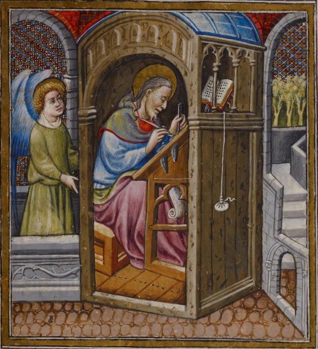 St mathieu BL Add 28962 fol 32r 1436-1443 Psautier et heures à l'usage des dominicain, Livre de prière d'Alphonse V d'Aragon