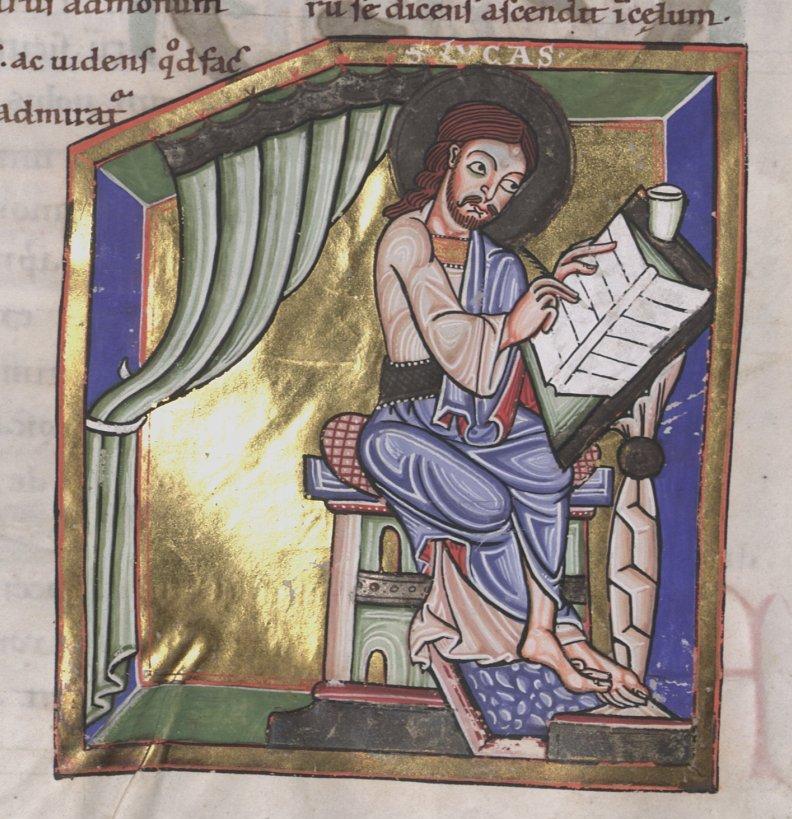 Württembergische landesbibliothek stuttgart, Cod. bibl. fol.28 folio 80r st luc , mitte 12e s Südwestdeutshland (Oberrhein ?)
