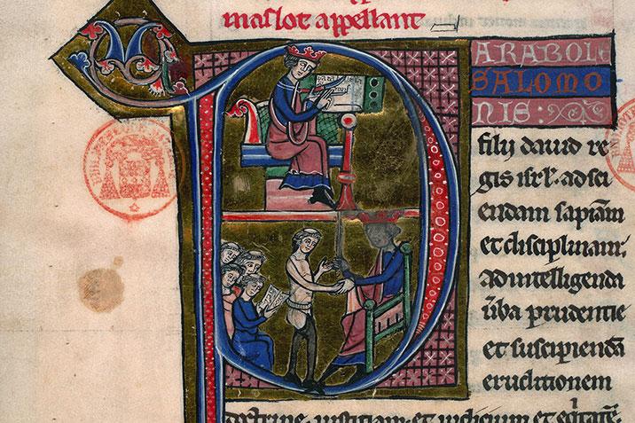 Salomon écrivant les proverbes bibl mazarine 36 f240v vers 1220-1230 picardie ?