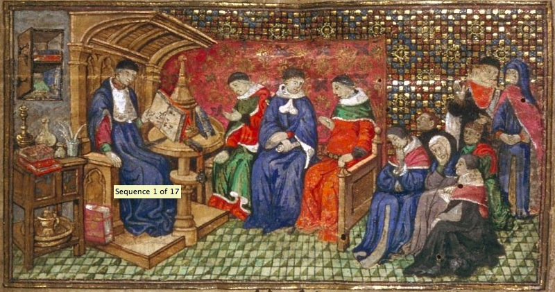 0Les diz moraulx des philosophes traduit en français par Messire Guillemme de Tignonville, Sedechias avec ses disciples Houghton library, cambridge harvard university TYP 207 folio 1 ca 1418-ca1420 atelier du maitre de l'Hannibal d'Harvard