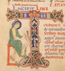 St grégoire de tours écrivant (encrier bnf latin 5329 f99v 1er quart du 12e fécamp)