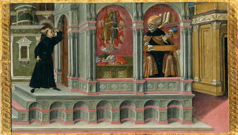 Matteo di Giovanni Italian, c. 1430–1495 Saint Augustine's Vision of Saints Jerome and John the Baptist, 1476 art institut chicago