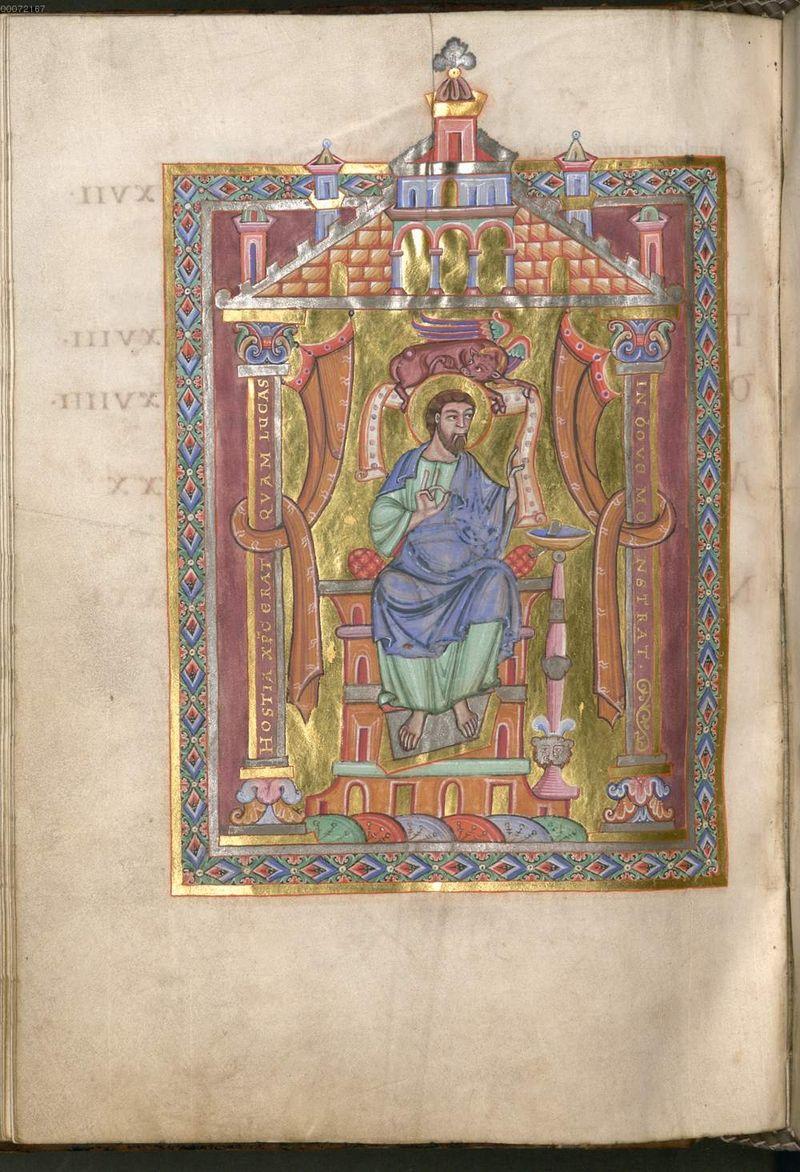 11 st luc, munich 11 staatsbibliothek clm 18005 f216v Tegernsee um 1035-1040 - copie