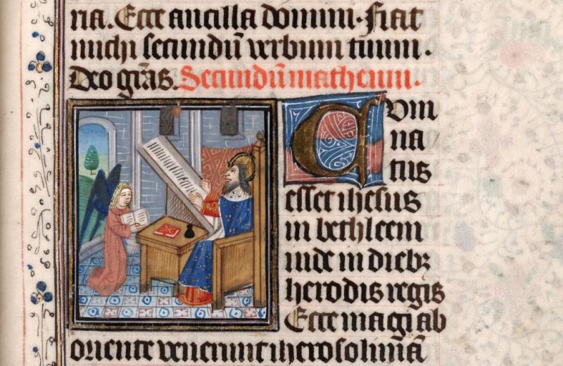*st mathieu fiole Horae beatae mariae virginia BU Montpellier fac de médecine H207 folio 24 XIVe