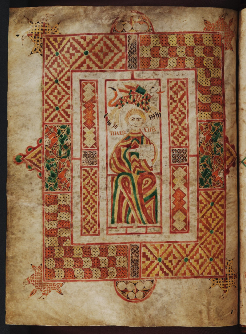 ***st mathieu MS. Auct. D. 2. 19 folio 51v Gospels of Macregol, enlumineur irlandais abbé de Birr (c. 821 ou 822) avec gloses anglaises du Xe par les scribes Farmon et Owun