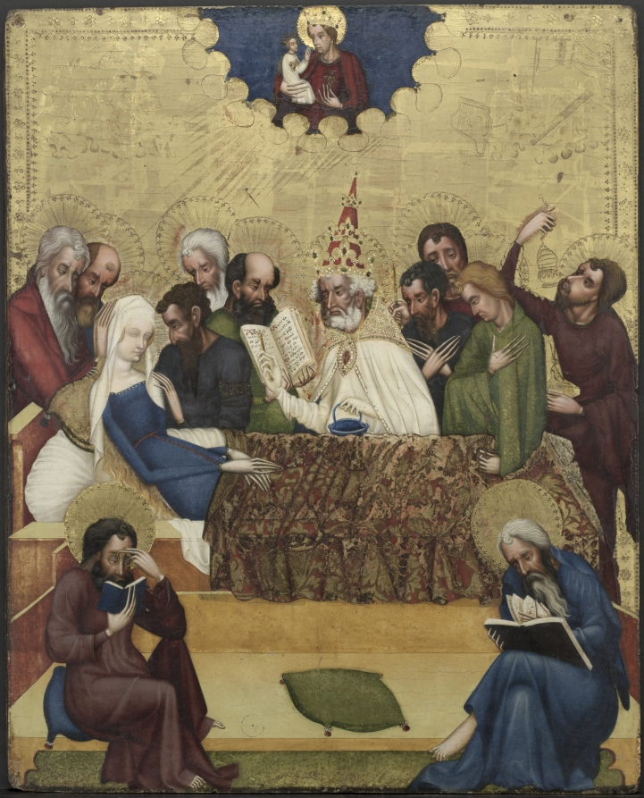 *lunettes The Death of the Virgin, depicting one of the Twelve Apostles. Painting by the Master of Heiligenkreuz, ca. 1400 the cleveland museum of art