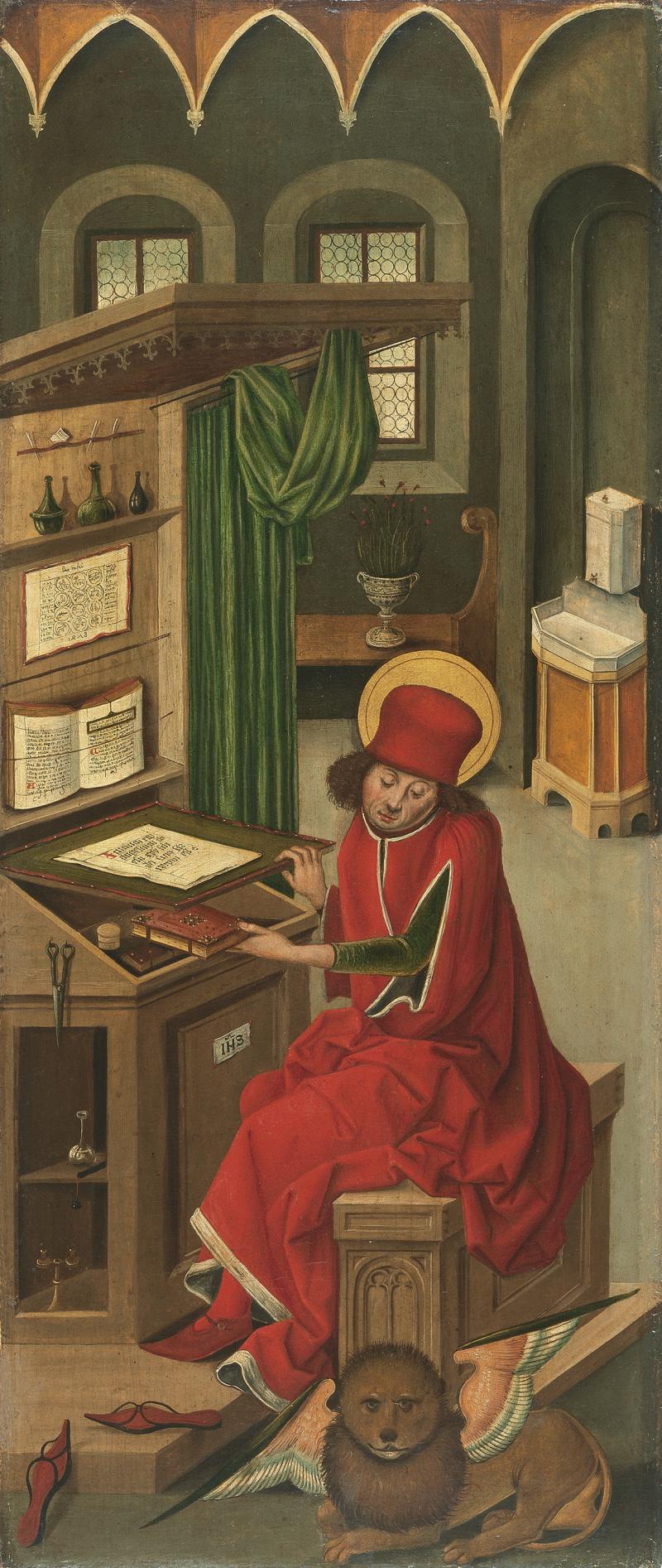 Saint marc the Evangelist 1478  Oil on panel. 77 x 32.2 cm Museo Thyssen-Bornemisza  Madrid Inv. no. 233 (1928.15) gabriel malesskircher