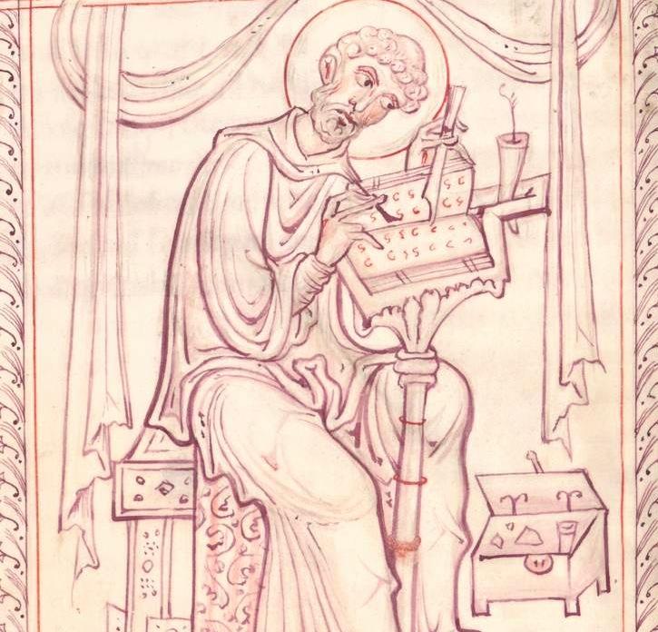 *st jérome Evangeliar aus Sankt Emmeram, Entstehungsort: Salzburg, 1147:1167, München, Bayerische Staatsbibliothek, Inv.-Nr. Cod. lat. 14267 — Buchausstattung — Heiliger Hieronymus, 15verso —