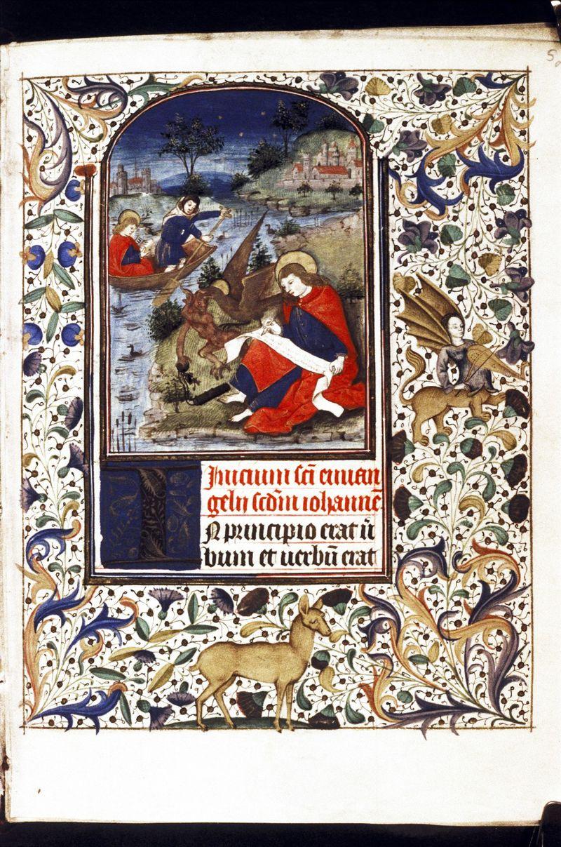 St Jean on patmos oxford bodleian lib Ms Douce267 folio 5r c1470 Besançon