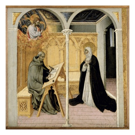 *St. Catherine of Siena Dictating Her Dialogues, c.1447-61 (tempera on panel), Giovanni di Paolo di Grazia (1403-83) : Detroit Institute of Arts, USA