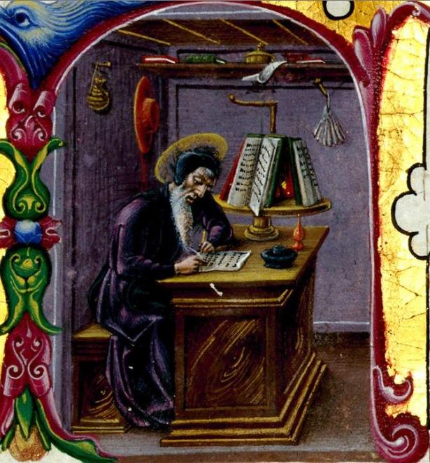 St jérôme, Bibbia di Borso d'Este. Modène, bibliothèque Estense, Cote : Lat. 422-423 = V.G.12-13 page 5 Ferrare 1455-1461
