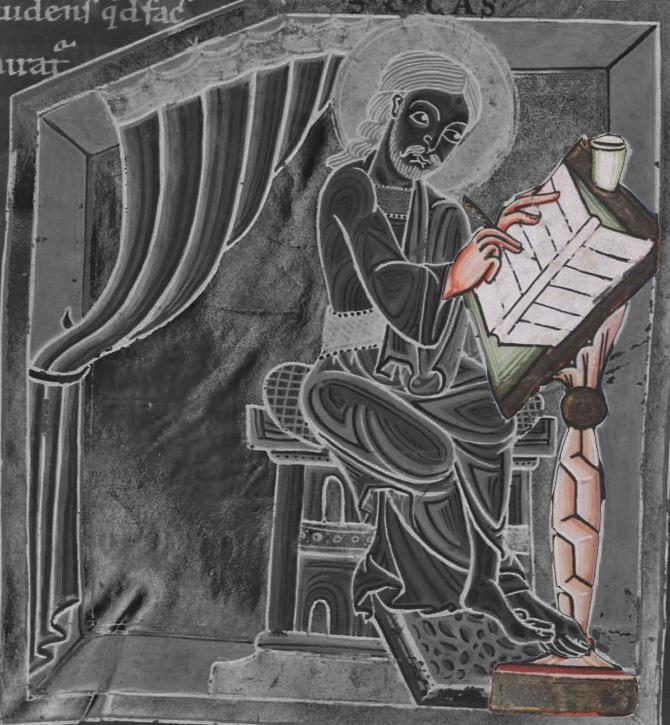 12e württembergische landesbibliothek stuttgart, Cod. bibl. fol.28 folio 80r st luc , mitte 12e s Südwestdeutshland (Oberrhein ?)