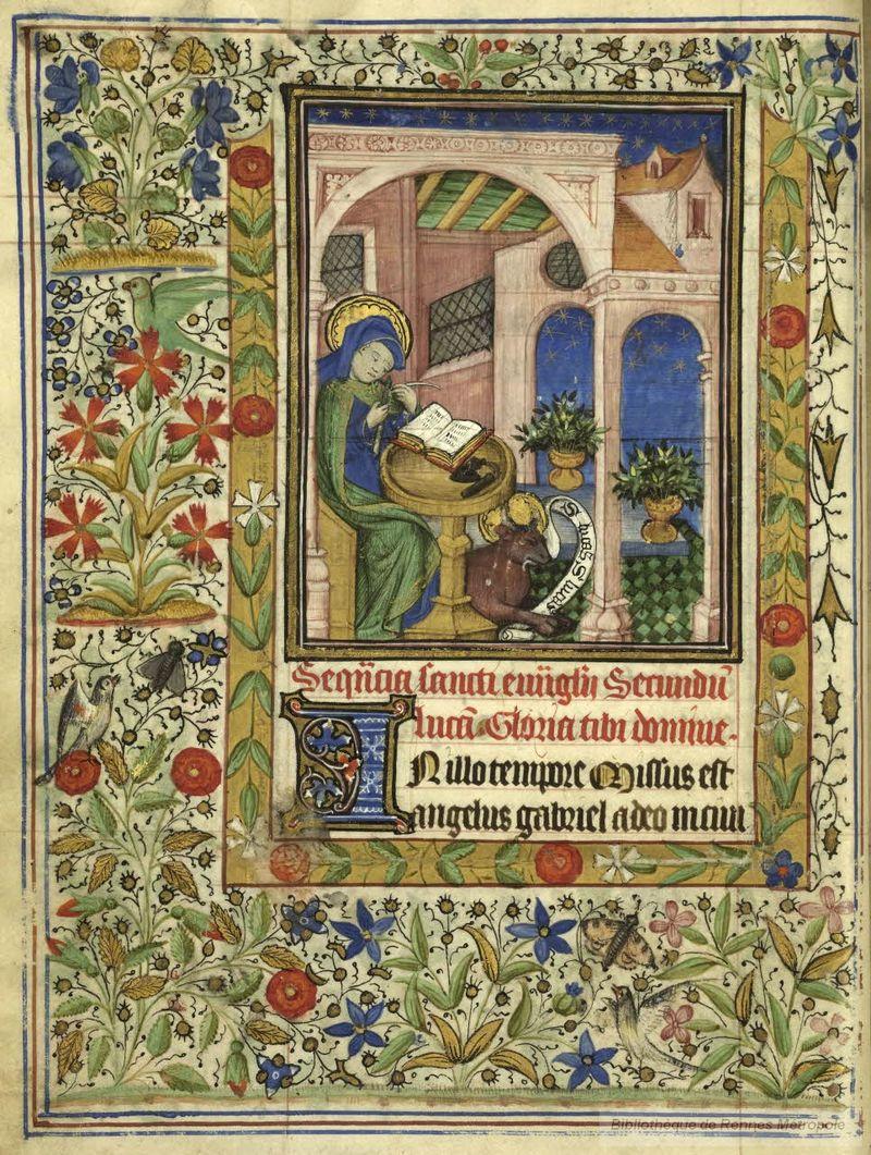 St luc taillant sa plume Rennes BM 34bis f 13v maitre des heures de françoise de Dinan,  Livre d'heures de Catherine de Rohan et de Françoise de DInan, Bretagne, 1450-1455