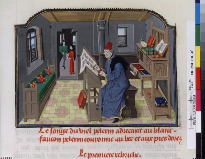 Bnf fr 9200 f42 Philippe de Mézières écrivant