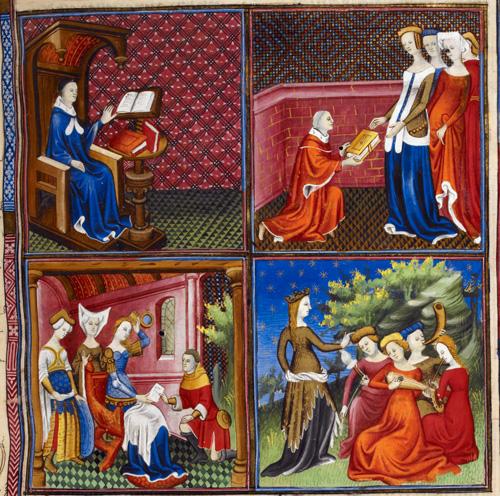 1400-1425 boccace présente son livre à Andrea Acciaiuoli et un groupe de femme BL Royal 20 C V f5