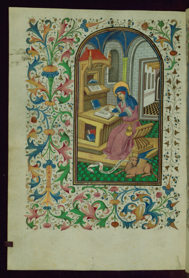Book of Hours  St. Luke writing in book  Walters Manuscript W.240  fol. 399v