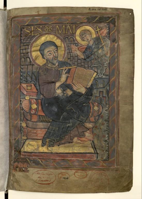 St mathieu BNF NAL 1203 f1 lectionnaire de Godescalc rhénanie 780-781