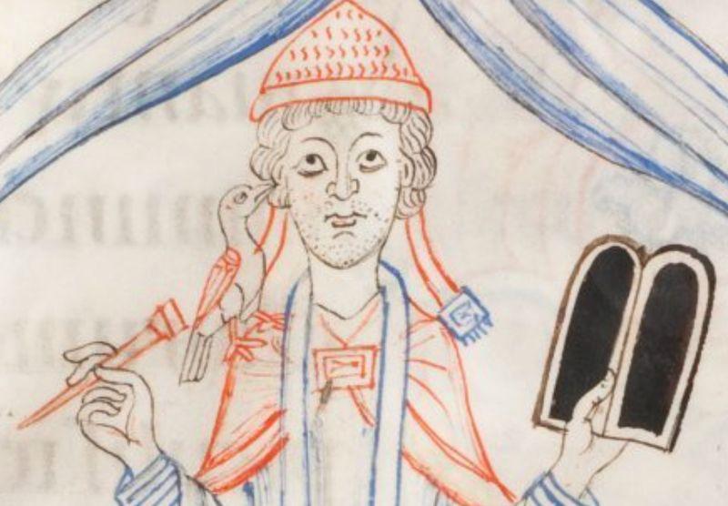 Saint Grégoire, Libellus capitolurum, 1140-1150, Stuttgart württembergische landesbibliothekCod. bref.128 folio 53 détail