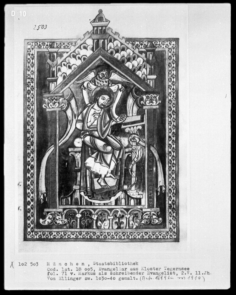 St marc Evangeliar, Entstehungsort: Tegernsee (Kreis Miesbach), 1018, München, Bayerische Staatsbibliothek, Inv.-Nr. Cod. lat. 18005 — Buchausstattung Ellinger (Tegernsee, Abt) — Evangelist Markus, 71verso