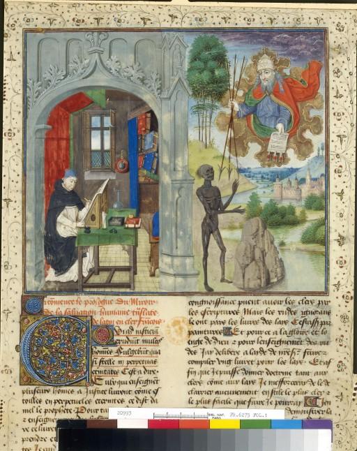 Vincent de Beauvais écrivant bnf français 6275 folio 1