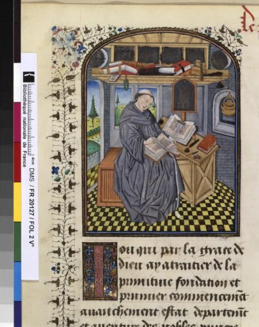 **lunettes Jacques de guise ? Chronique de HAinaut BNF fr 20127 folio 2v 15e