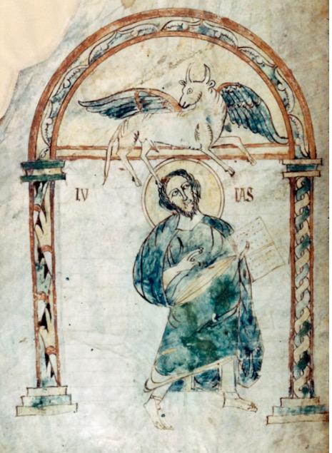 St luc Autun BM 3 f 187v Evangiles de Gundhohinus, 754-755 Vosevio Bourgogne?