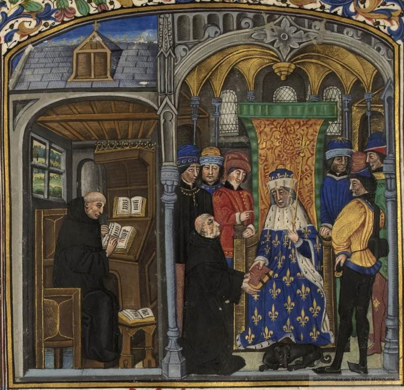 Gilles de rome dans sa cellule  dédicace à philippe le hardi  livre du gouvernement des princes  Flandre  vers 1450 Rennes BM 153 folio 1