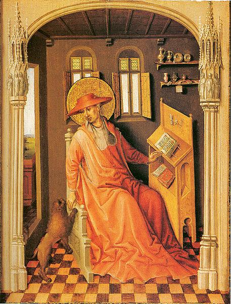 Saint-jerome-in-his-study-peint par Stefan Lochner musée d'art de caroline du nord vers 1435