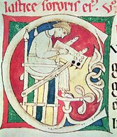 12 BM Porto  Ms 22 fol.139r Historiated initial 'C' depicting a monk writing  from 'Vitae Sanctorum'  Santa Cruz de Coimbra XIIe