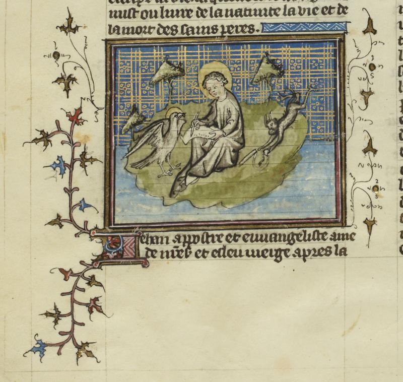 1400 St jean à patmos  bnf fr 242 f18v jaques de voragine légende dorée trad jean de vignay paris deb 15e